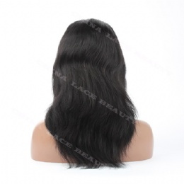 Lace Front Wig Indian Remy 12inches 1# natural straight