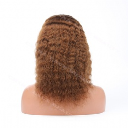 Lace Front Wig Indian Remy 12inches 4# deep wave