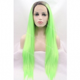 Synthetic lace front wig black baby green straight