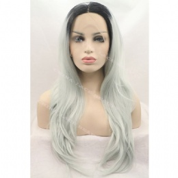 Synthetic lace front wig black grey straight