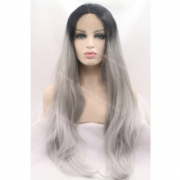 Synthetic lace front wig long black grey straight