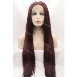 Synthetic lace front wig black straight