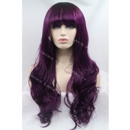 Synthetic lace front wig winered straight