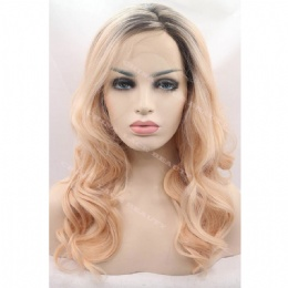 Synthetic lace front wig black blonde wavy