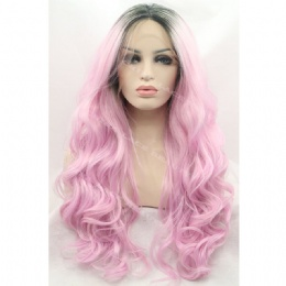 Synthetic lace front wig black pink wavy