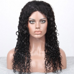 Machine weft made wigs deep curl