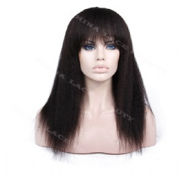 Machine weft made wigs kinky straight with bangs