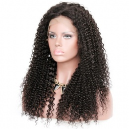 kinky curl brazilian virgin hair improved 360°anatomic lace wigs 150% thick density pre-plucked hairline