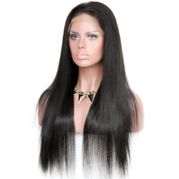 Silky straight brazilian virgin hair improved 360°anatomic lace wigs 150% thick density pre-plucked hairline