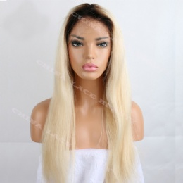 Full Lace Wig Chinese Virgin Ombre Blonde Straight