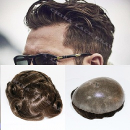 Durable Skin Natural Hair Men Toupee Natural Looking Indian Remy Hair Clear Poly Base Human Men Hair Replacements