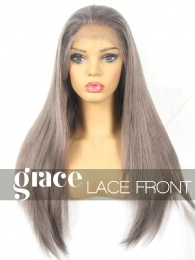 CLEARANCE LACE FRONT WIG: Ash Gray Virgin Malaysian Medium Straight 20 inches All Same Length