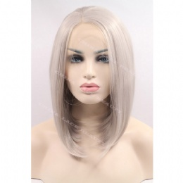 Synthetic lace front wig grey bobo