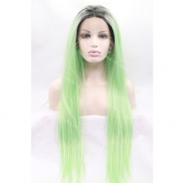 Synthetic lace front wig black green straight