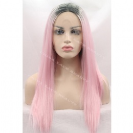 Synthetic lace front wig black pink straight