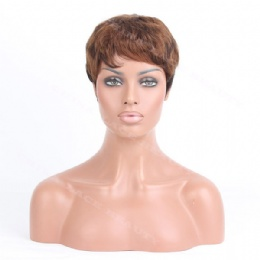 Machine weft made wigs brown short wavy
